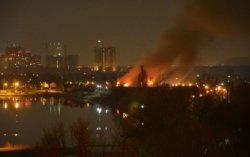 В Киеве горел оздоровительный комплекс, пострадал один человек
