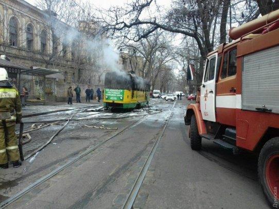 Вовремя пожара водесском трамвае пострадала женщина