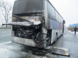 На трассе Киев-Чоп горел международный автобус