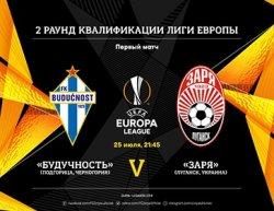 Луганская «Заря» 25 июля сыграет с черногорской «Будучность» в Лиге Европы